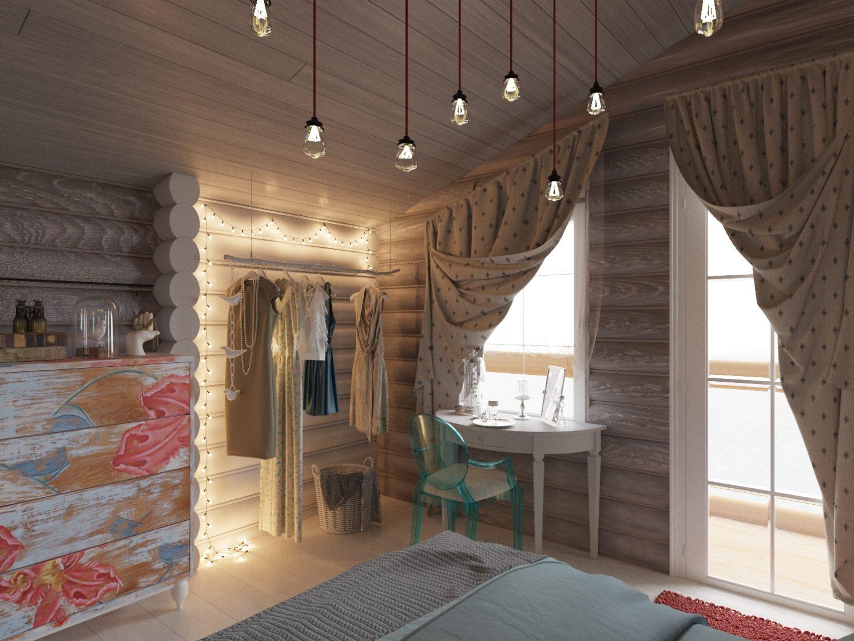 открытая гардеробная, дизайн интерьера в деревянном доме