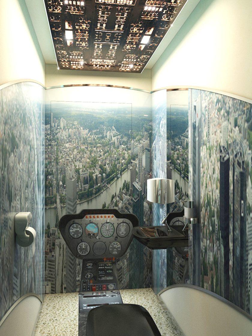 туалет - кабина вертолета, туалет в офисе