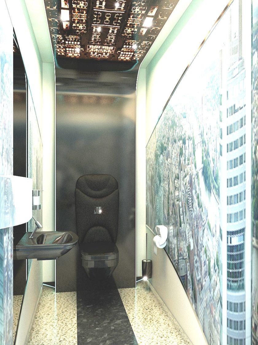 туалет - кабина пилота, санузел кабина вертолета
