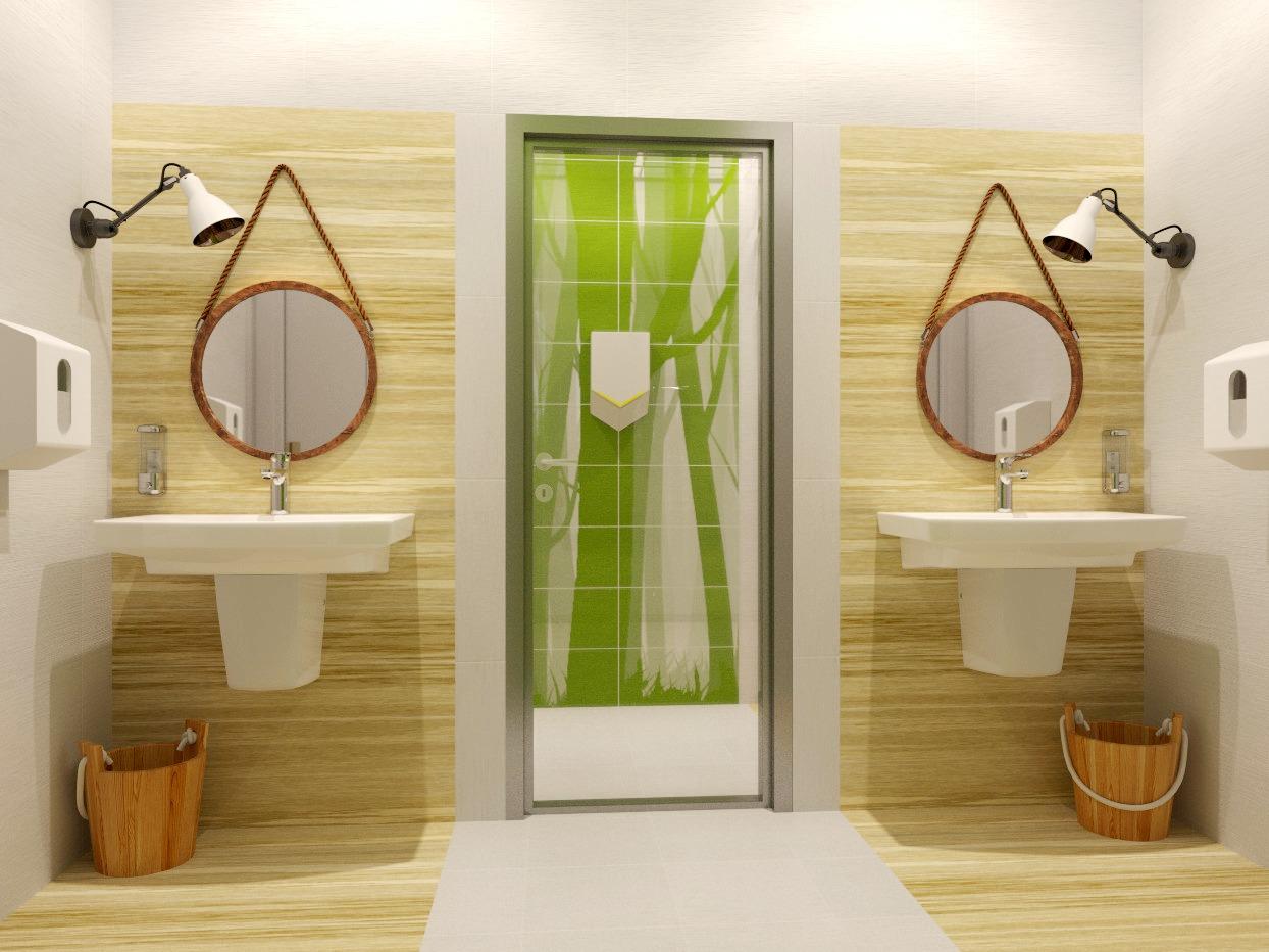 туалет в офисе, санузел в офисе, туалет в эко-стиле