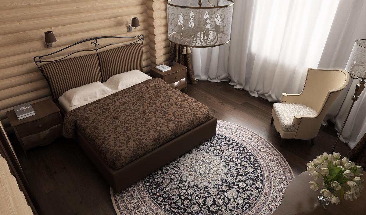спальня в деревянном доме, круглый ковер