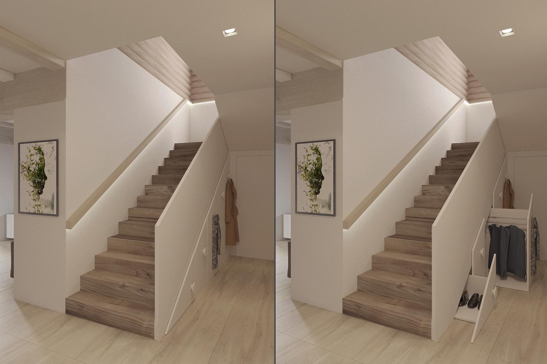 лестница в доме, шкафы под летсницей
