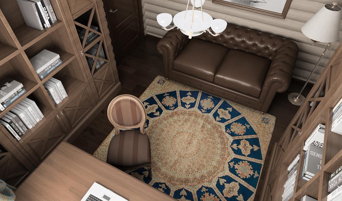 дизайн кабинета в доме из бревна