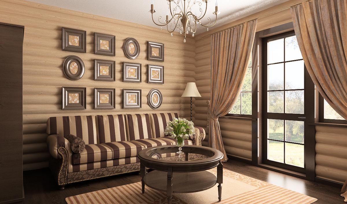полосатый диван, много рамок на стене