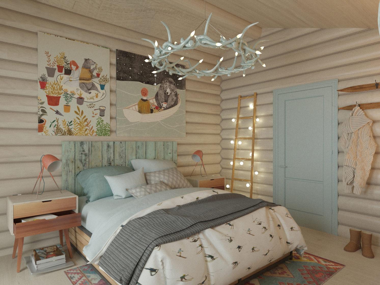 дизайн спальни с загородном доме