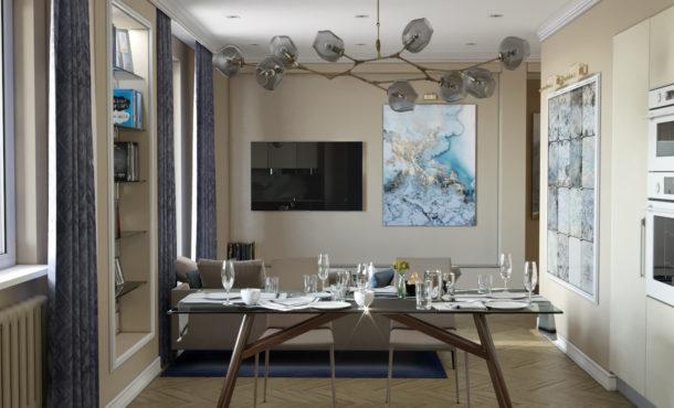 гостиная-кухня гостиная-столовая люстра k-studio