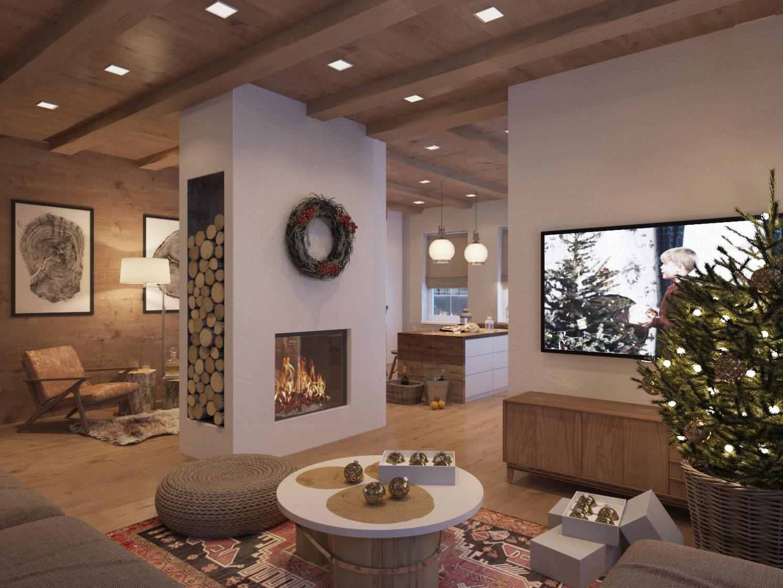 гостиная в доме, поленница у камина, новый год