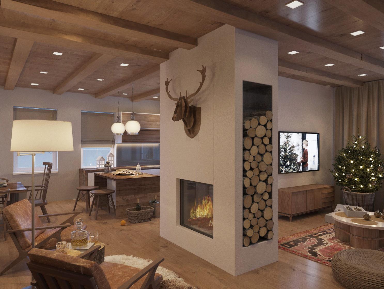 гостиная в доме, поленница в камине, новогодний интерьер