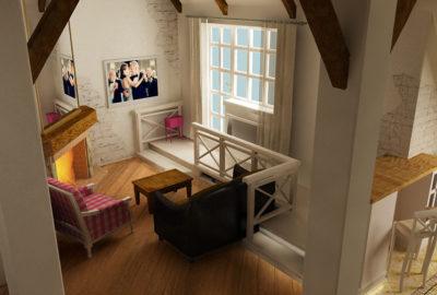 гостиная на мансарде, k-studio