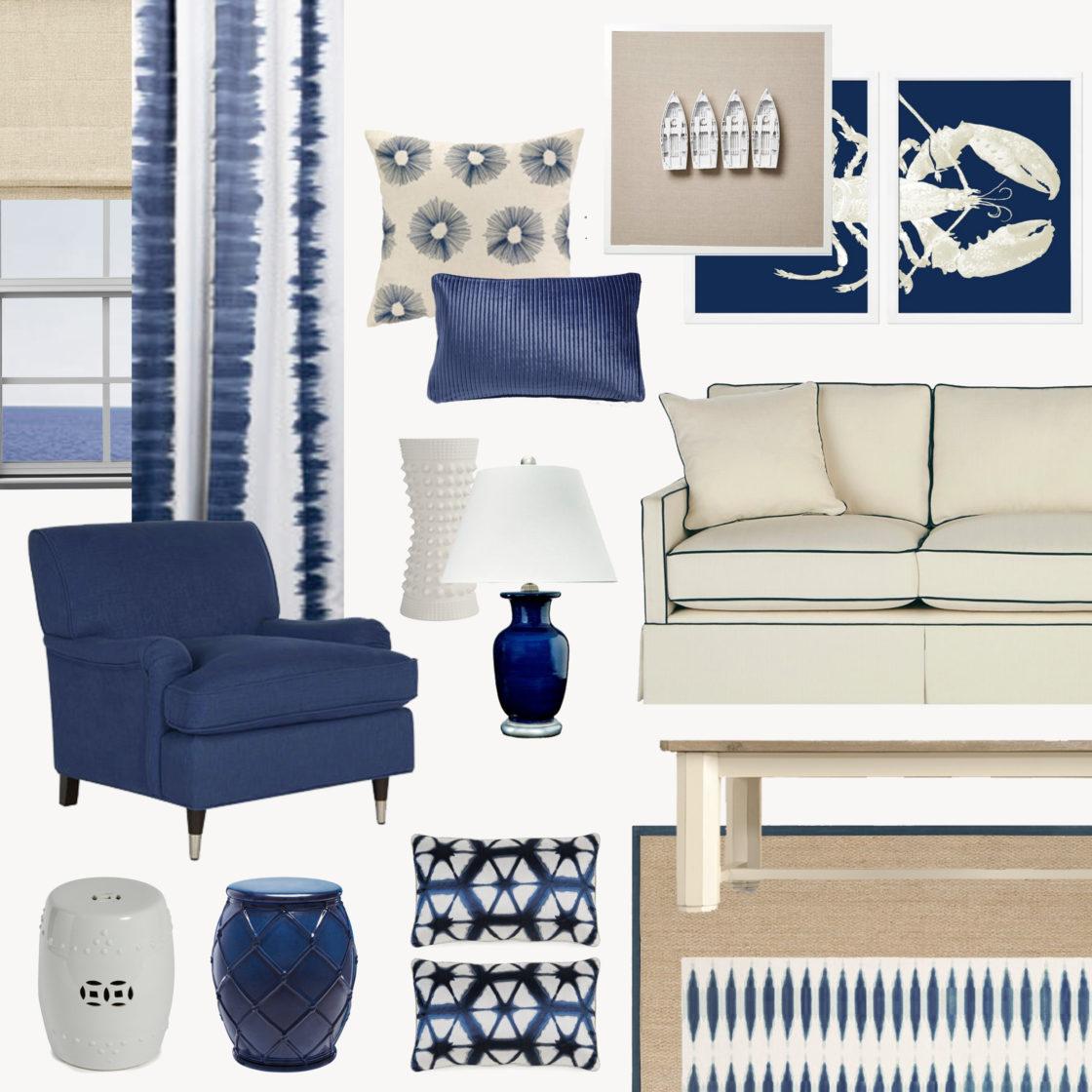 коллаж гостиной в синих цветах, k-studio