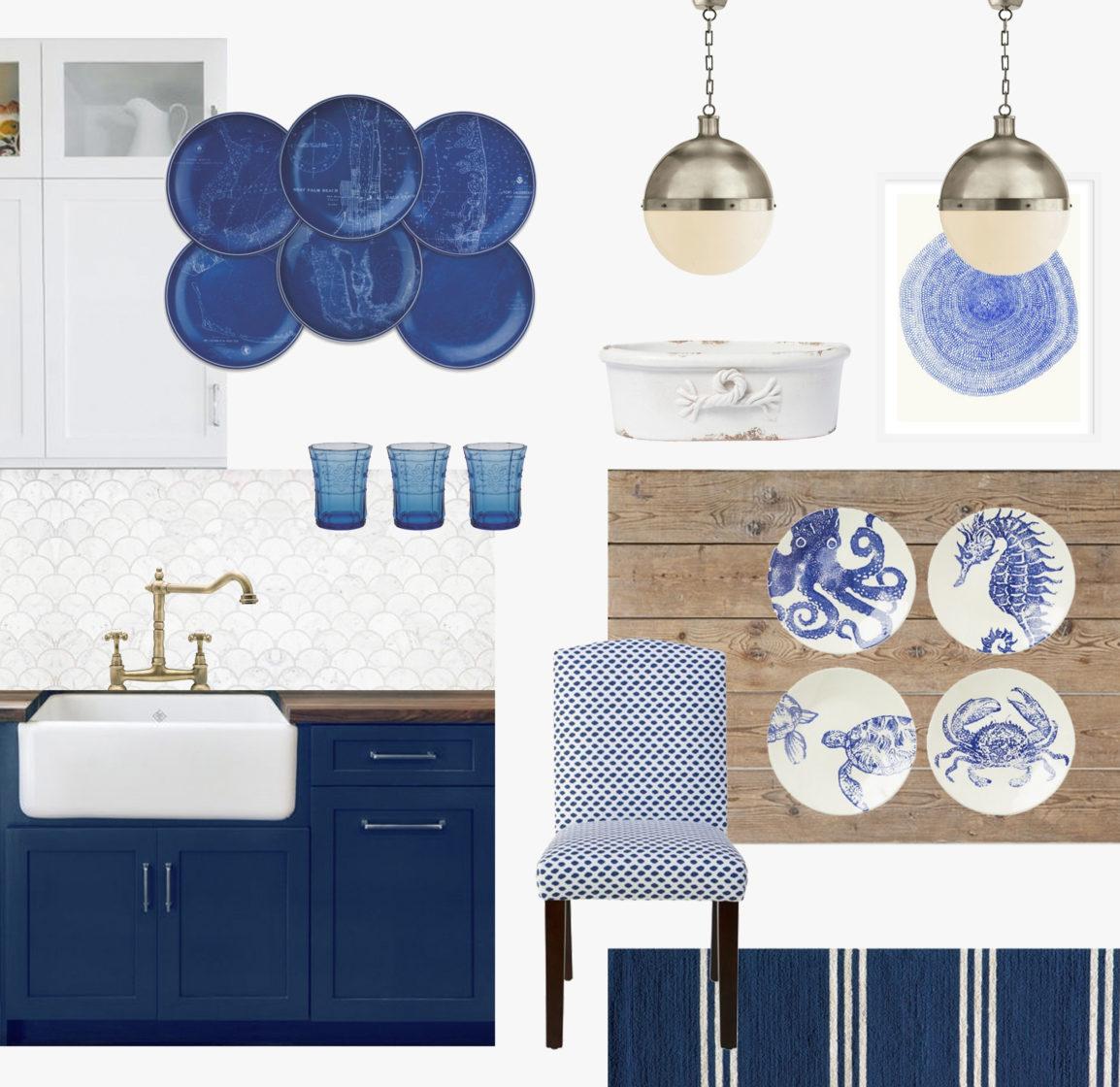 коллаж кухни в синих цветах, k-studio