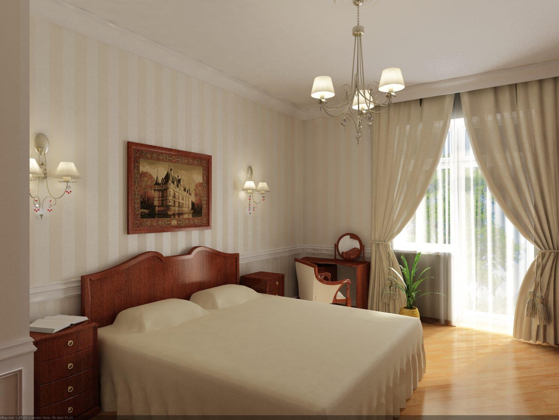 спальня с полосатыми обоями