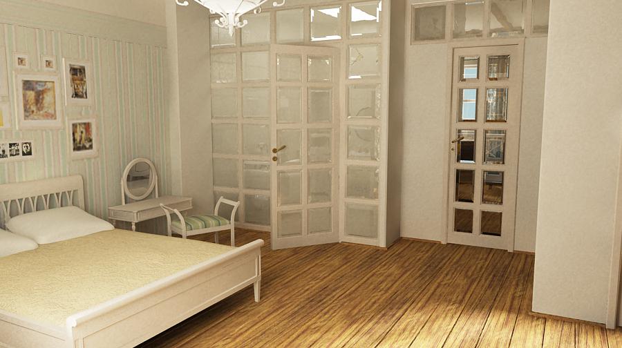 стеклянная перегородка между спальней и ванной