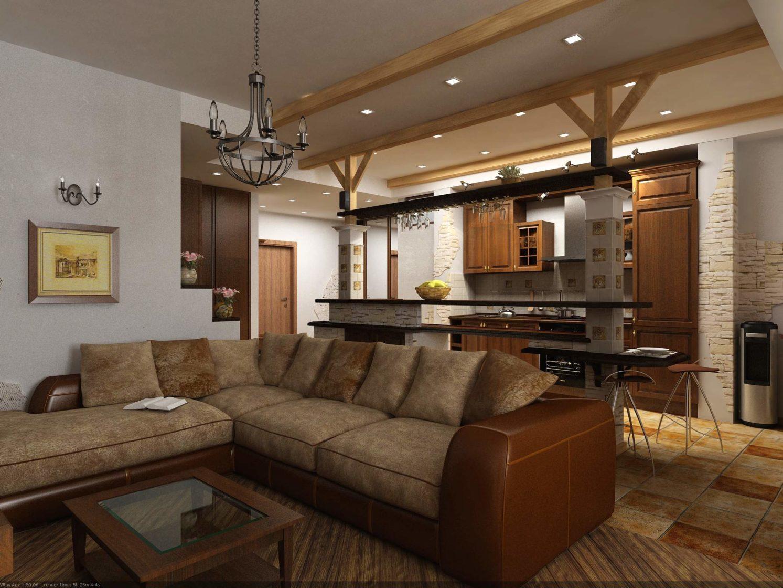дизайн гостиной с деревянными балками