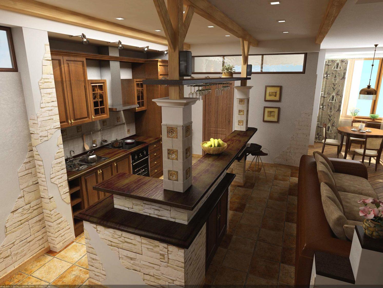 кухня-гостиная с деревянными балками