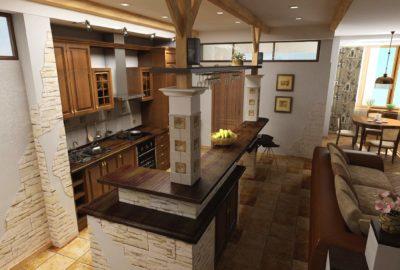 деревянная кухня, балки на кухне