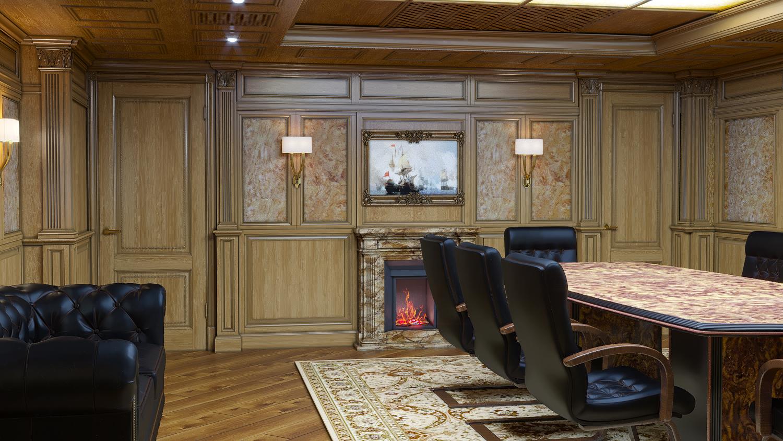 камин в переговорной комнате