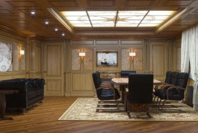 кабинет в классическом стиле, витраж на потолке, k-studio
