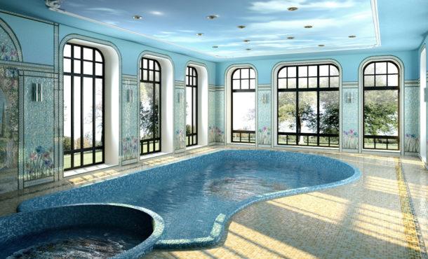 бассейн, мозаичное панно, k-studio