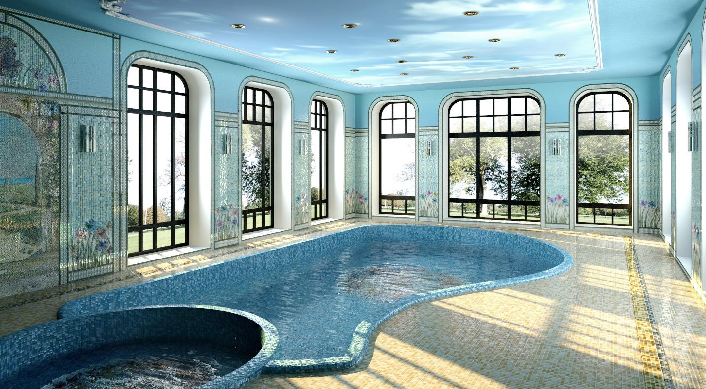 бассейн, мозаичное панно