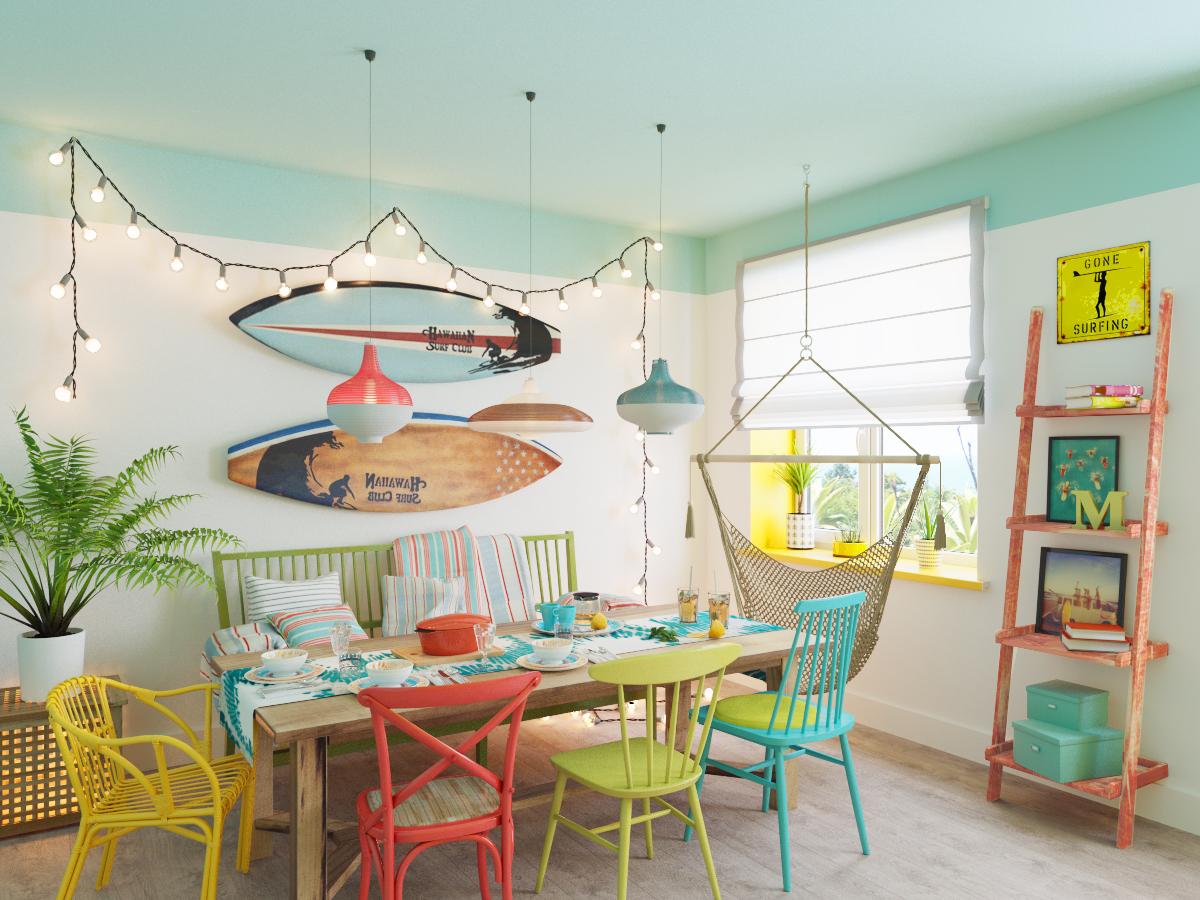 разноцветные стулья, гостевой дом