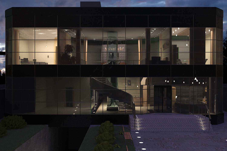 фасад офисного центра, ночной вид