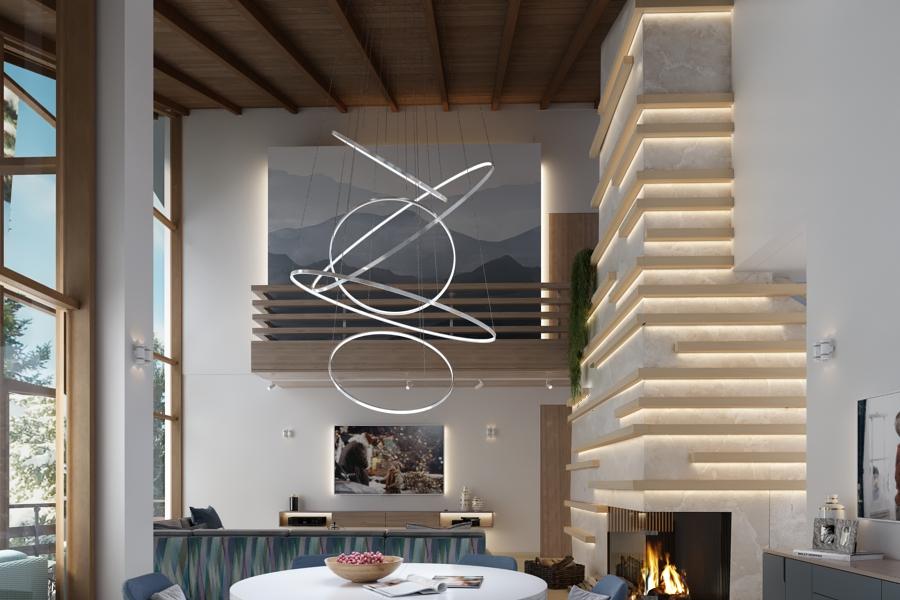 двусветная гостиная с камином